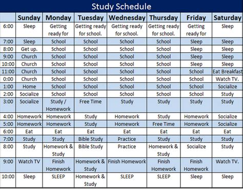 study schedule template daily hourly schedule template new calendar template site