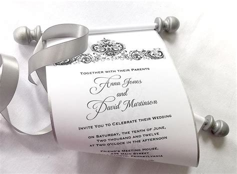 Paper Scroll Wedding Invitations by Winter Wedding Invitation Scroll Black And Silver