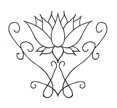 easy flower designs lotus flower line drawing cliparts co