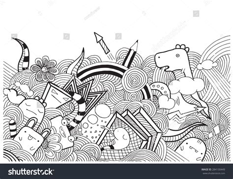 doodle monsters vector vector doodle monsters stock vector 284130449