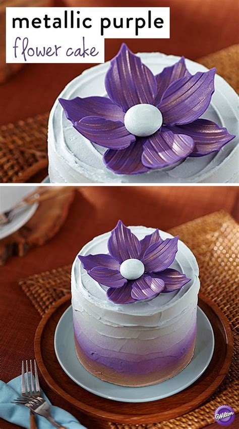 diy mothers day cake decorated   lovely fantasy flower   metallic purple flower