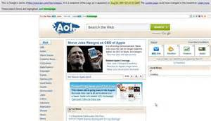 make aol my homepage on windows 10