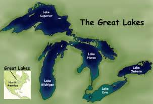 map of us with great lakes labeled the great lakes