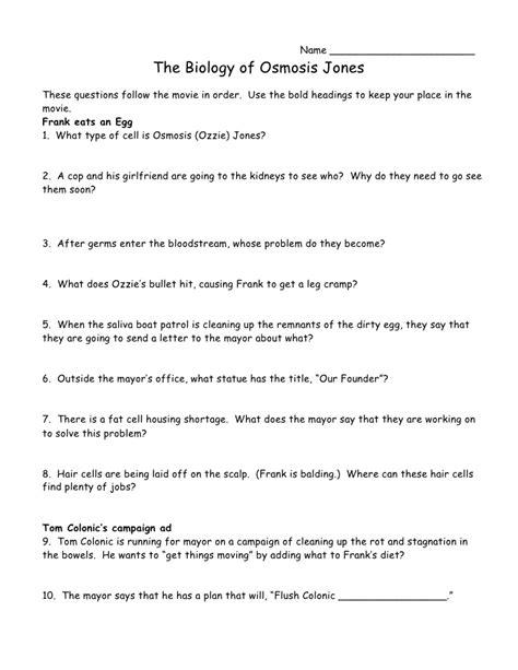 The Biology Of Osmosis Jones Worksheet Answers by Osmosis Jones