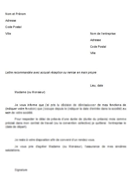 Exemple De Lettre De Demission Mcdo exemple lettre de demission mcdo document