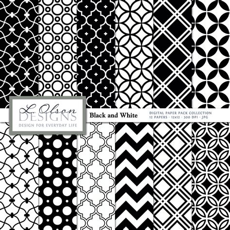 black and white pattern paper black and white paper pack 12 digital paper patterns