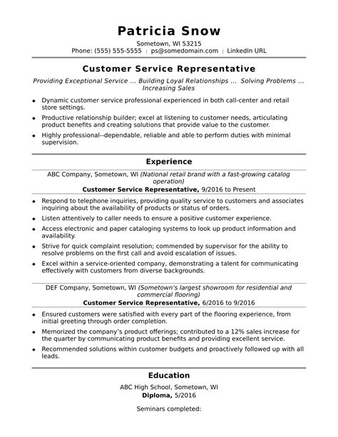Resume For Customer Service Representative by Customer Service Representative Resume Sle