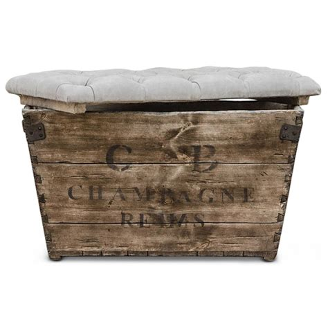 french country ottoman reims french country aged wood grey storage crate ottoman