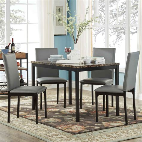 Oxford Creek Furniture by Oxford Creek Mio Faux Marble 5 Casual Dining Set