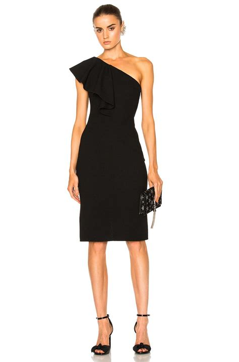 Laurent Slit Dress Black laurent one shoulder ruffle dress in black lyst
