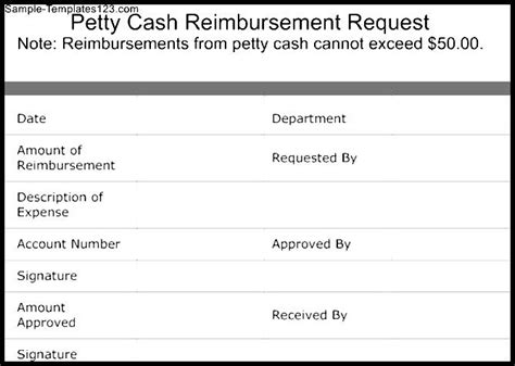 petty cash reimbursement request template sle templates