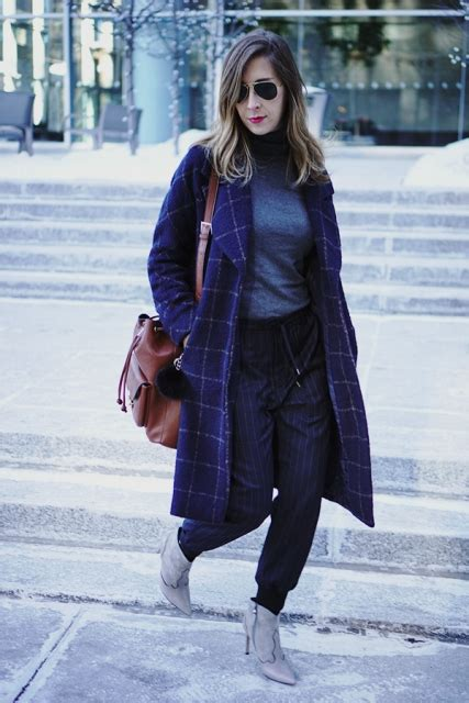 picture   turtleneck gray ankle boots checked coat