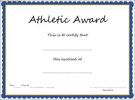 sports athletic award certificate template sle