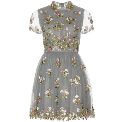Mini Tulle Dress valentino embellished tulle mini dress in gray lyst