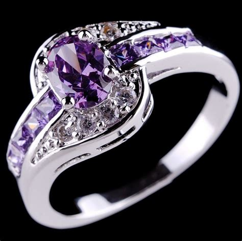 Purple Rings Amethyst 10K White Gold Filled Ring Womens