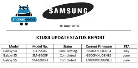 samsung galaxy s5 and s4 getting android 4.4.3 kitkat'ed