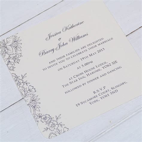 design wedding invitation uk vintage lace wedding invitations by beautiful day