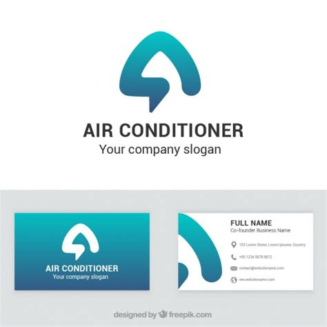 air conditioner company business card vector free download