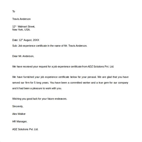 sample experience letter templates ms