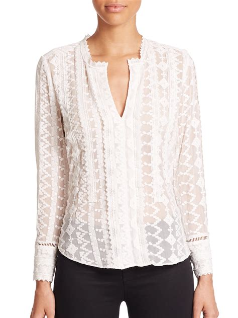 Silk Chiffon Top by Lyst Embroidered Silk Chiffon Top In White