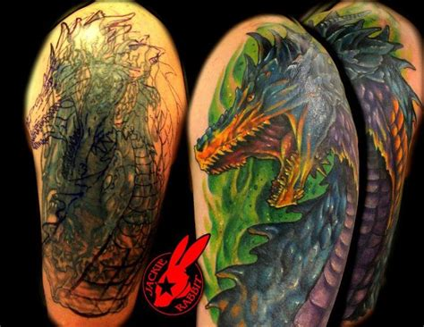 dragon cover up tattoo by jackie rabbit by jackierabbit12