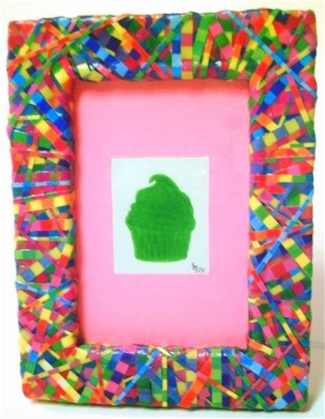 Decoupage Photo Frame Ideas - multicolored decoupage photo frame upcycled repurposed