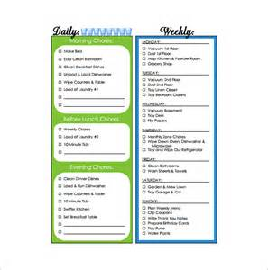 Household Roster Template by 11 Sle Weekly Chore Chart Template Free Sle