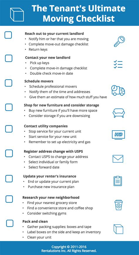 Tenant Moving Checklist Infographic Rentalutions Rentalutions Tenant Newsletter Template