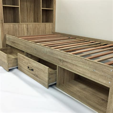 King Single Bed With Drawers by Sonama Oak King Single Bed With Bookshelves Drawers