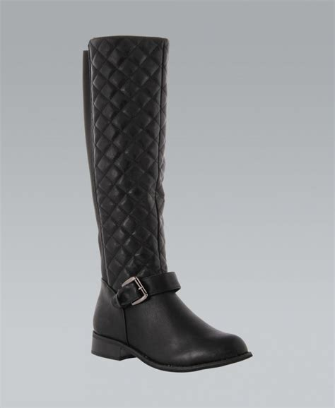 Black Quilted Boots by Krisp Black Quilted Knee High Boots Krisp From