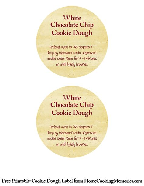 printable tags for homemade food gifts homemade food gifts white chocolate chip cookie dough