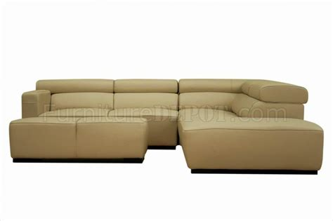 modern beige leather sectional sofa beige leather modern 3pc sectional sofa w ottoman