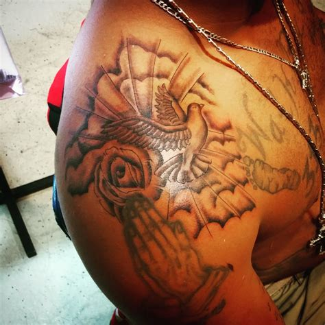 shoulder tattoo dove clouds and rose yelp