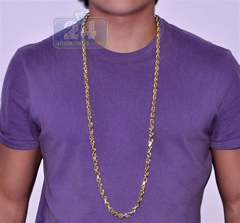 hollow 10k yellow gold mens rope chain 8mm 40 inches