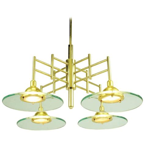 halogen chandelier architectural four light brass and glass pendant halogen