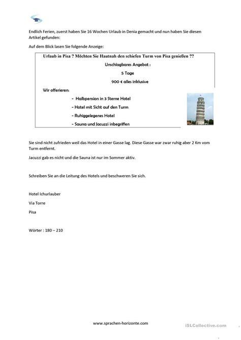 Beschwerdebrief Telc B2 Beispiel Beschwerdebrief B2 Arbeitsblatt Kostenlose Daf Arbeitsbl 228 Tter