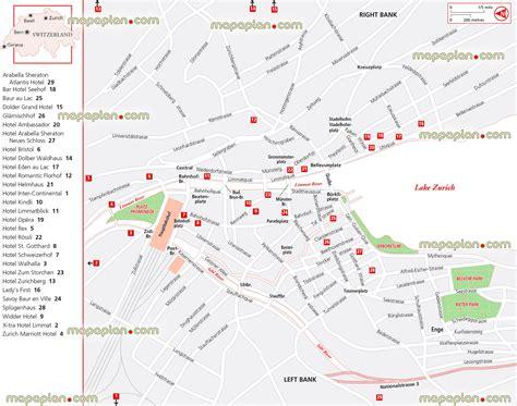 printable tourist map zurich zurich map hotels in zurich the map of switzerland