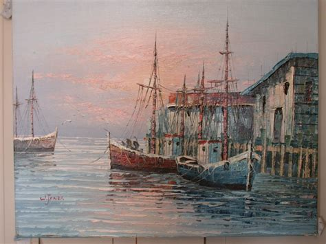 fishing boat artists paintings of fishing boats in the harbor art community