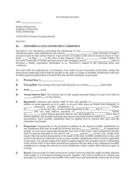 Mortgage Letter Of Commitment Definition Usa Commercial Loan Commitment Letter Forms And