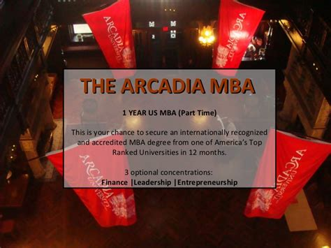 Utd Part Time Mba Tuition by Arcadia Unveristy Top Ranked Us Part Time Mba In Singapore