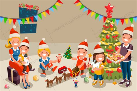 Nurse Party Decorations Winter Christmas Party With Kids People Image Illustration