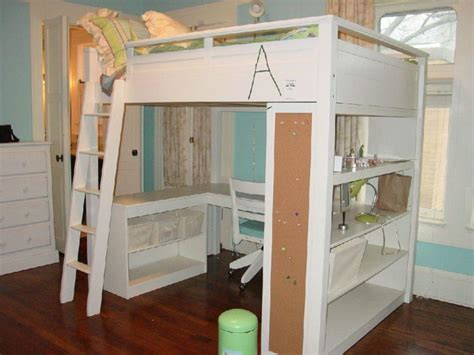 White Loft Bed With Desk Underneath by Furniture Size Corner Loft Bunk Bed With Desk And