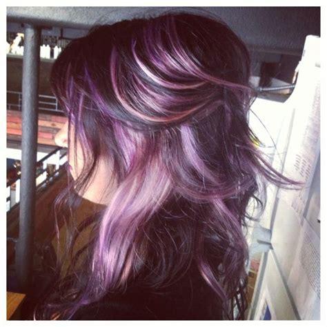shag haircut brown hair with lavender grey streaks lavender highlights google search silver hair