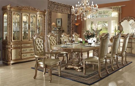 traditional formal dining room sets vendome gold formal dining table set