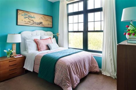 teal and coral bedroom fran s sunrise senior living makeover emily henderson