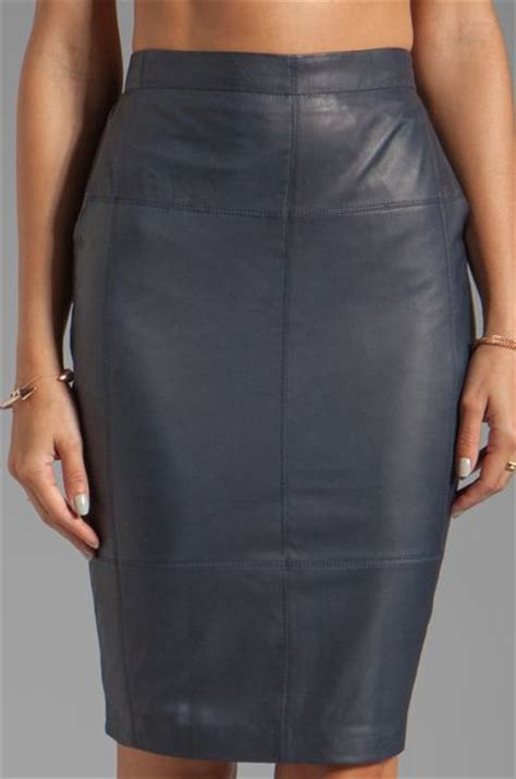 heritage leather combo pencil skirt in navy in