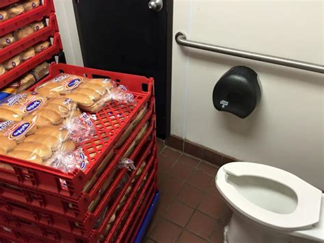 food to go to the bathroom this sonic drive in used its bathroom as bread storage