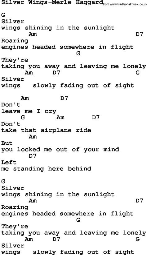 wing testo country silver wings merle haggard lyrics and chords