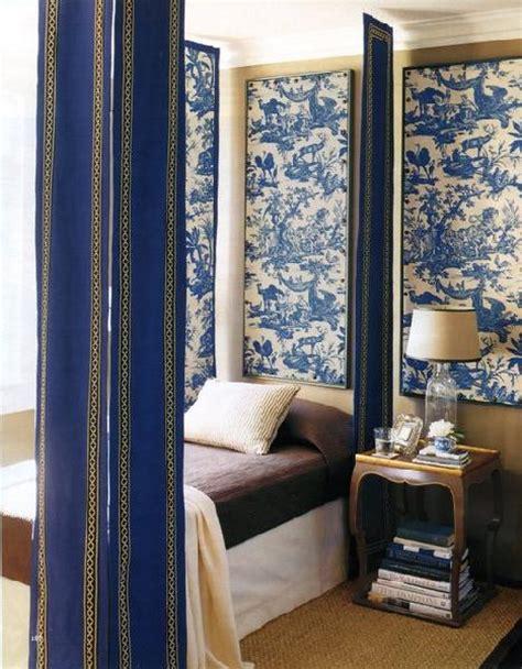 fabric wall panels bedroom toile art panles transitional bedroom eddie ross
