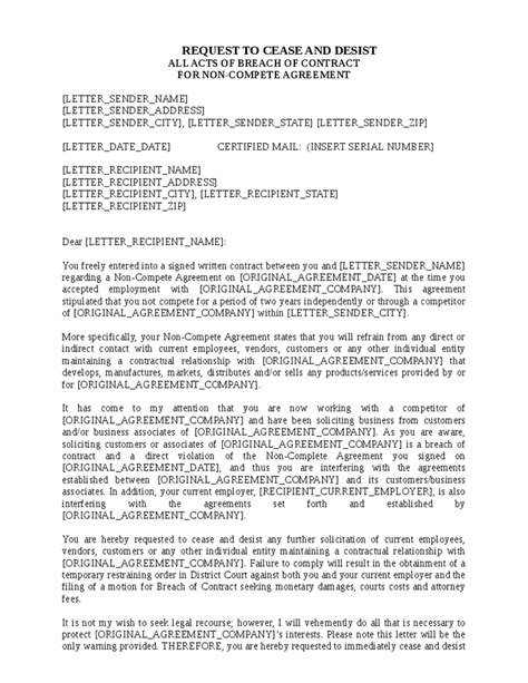 Letter Breach Of Employment Contract Sle Cease And Desist Letter Breach Of Contract How To 46